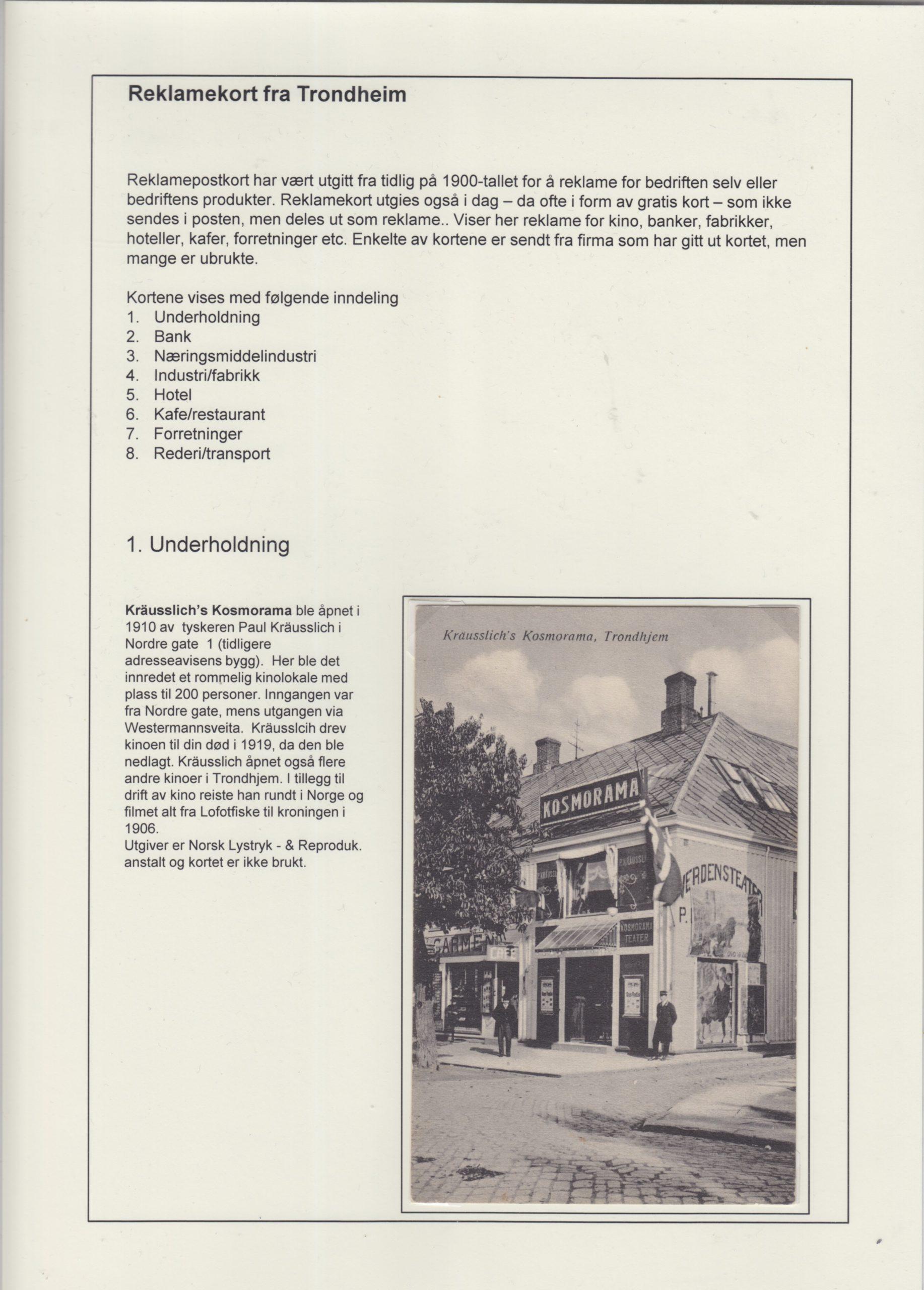 Reklamekort fra Trondheim